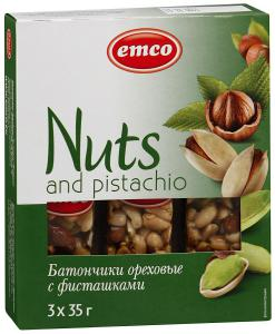 "Батончики ""Emсo"" Nuts and pistachio ореховые с фисташками, 3*35г"