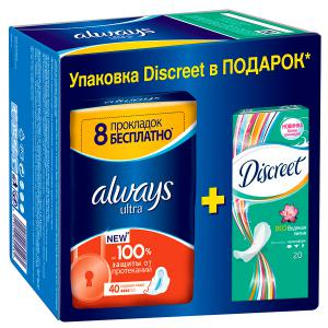 Набор прокладки Always Ultra Normal Plus, 40шт + прокладки Discreet Deo Water Lily Multiform, 20 шт.