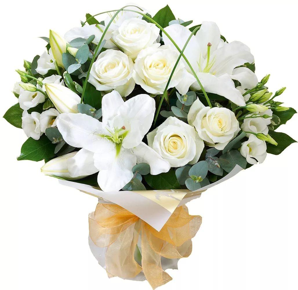 лилии белые букет фото