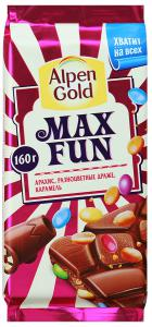 "Шоколад ""Alpen Gold"" Max Fun молочный с арахисом, разноцветными драже и карамелью, 160г"