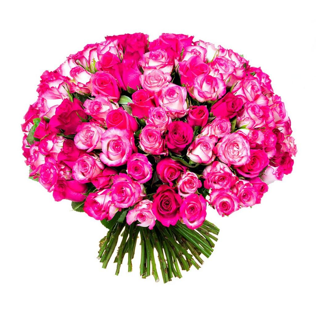 Красивый букет из миллиона розовых роз, юбилей доставкой