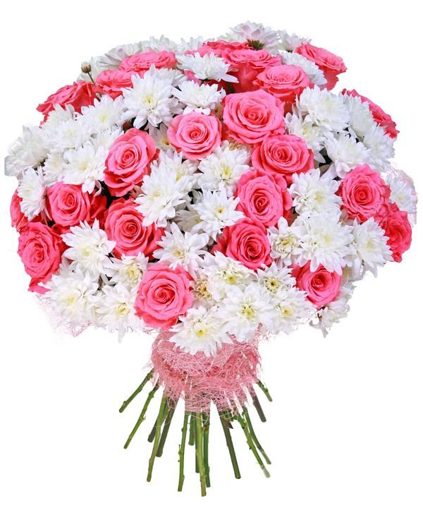 Красивый букет из роз и хризантем фото