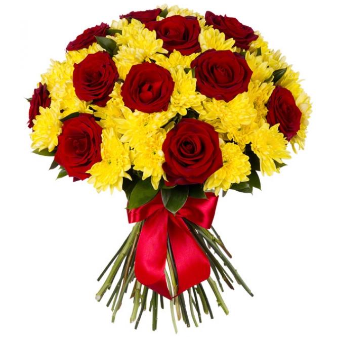 Букеты из хризантем и кустовых мелких роз, магазин домашних цветов калуга