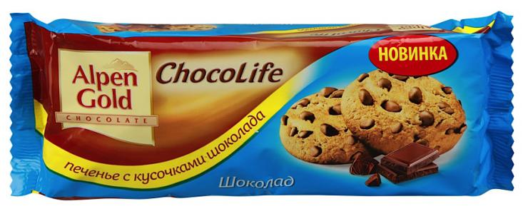 "Печенье ""Alpen Gold"" Chocolife с шоколадом, 135г"