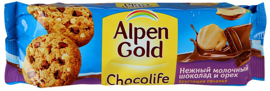 "Печенье ""Alpen Gold"" Chocolife с шоколадом и фундуком, 135г"