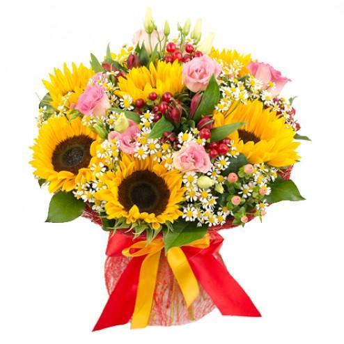 Доставка круглые букеты с подсолнухами комнатные цветы авито