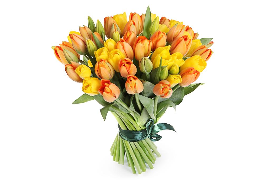 Магазин, пестрый букет тюльпанов