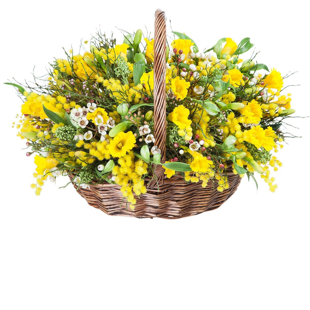 Букет, праздничные цветы на 8 марта желтая ветка