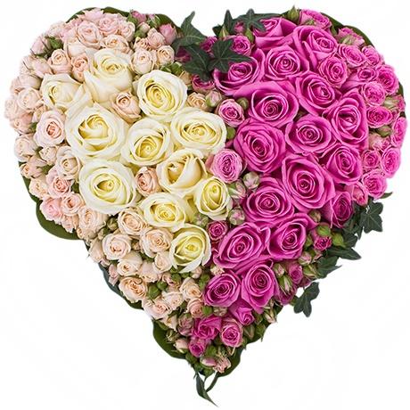 Красивое сердца из цветов